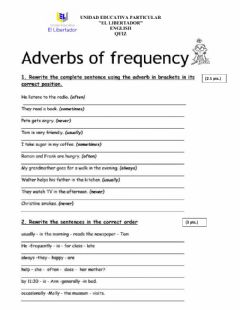 Ficha interactiva Quiz - Adverbs of frequency - Prepositions of time