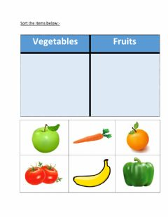 Interactive worksheet Sorting fruits and vegetables