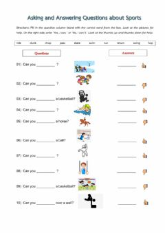Interactive worksheet Asking and Answering Questions about Sports