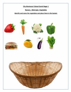 Ficha interactiva Identify the vegetables and place them in the basket