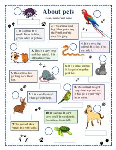 Interactive worksheet About pets