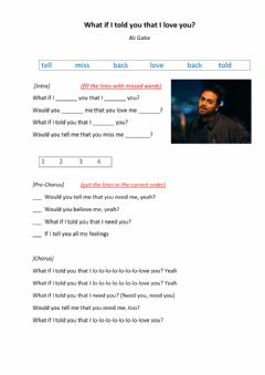 Interactive worksheet Ali Gatie - What if I told you that i love you?
