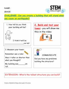 Interactive worksheet Stem project earthquake