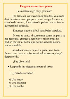 Interactive worksheet Un gran susto
