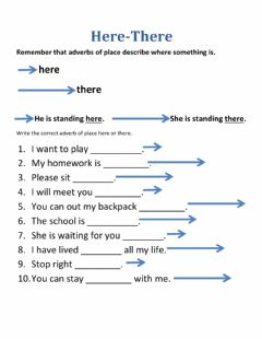 Interactive worksheet Adverbs of Place