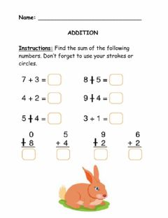 Interactive worksheet Horizontal and Vertical Single Digit Addition