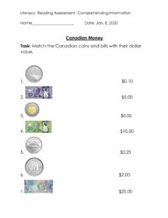 Interactive worksheet Canadian Money Match-up
