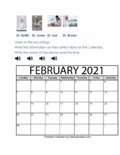 Interactive worksheet Writing doctor's appointment information on a calendar
