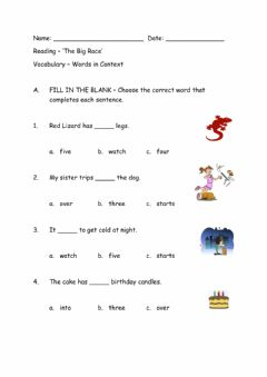 Interactive worksheet Context Clues-Word Meaning