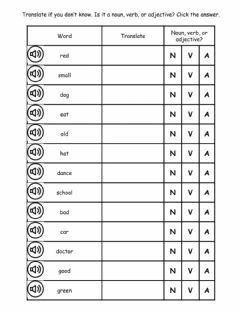 Interactive worksheet Part of speech classification