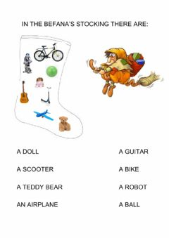 Interactive worksheet In the Befana's stocking there are..