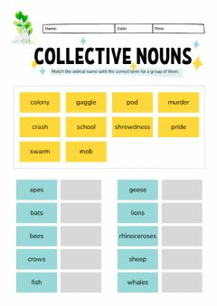 Ficha interactiva Montessori Lesson - English Language - Collective Nouns