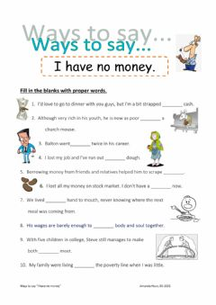 Interactive worksheet Ways to say -I don't have money