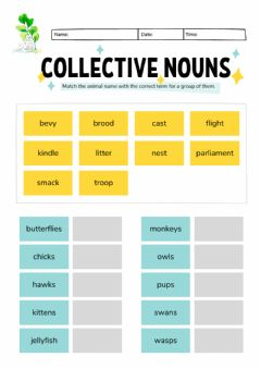 Ficha interactiva Montessori Lesson - English Language - Collective Nouns 3