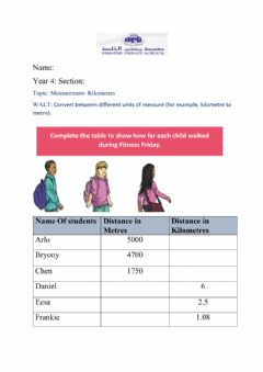 Interactive worksheet Measure- Kilometer