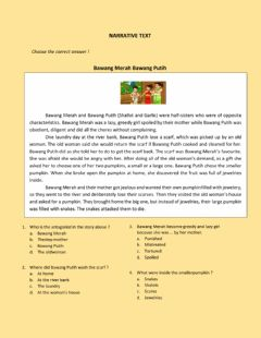 Interactive worksheet Narrative Text - Indonesian Fairytales