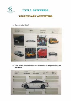 Interactive worksheet VOCABULARY: TYPES OF CARS AND PARTS OF A CAR.