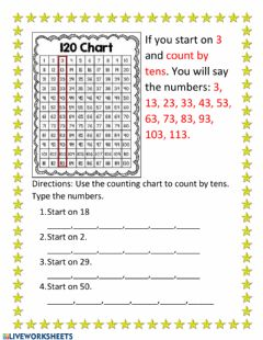 Interactive worksheet Skip counting by 10's