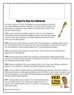 Interactive worksheet Majority Rule Bahamas