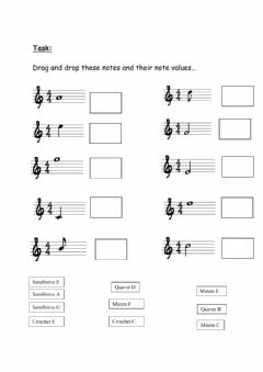 Interactive worksheet Drag and Drop Note Values