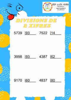 Interactive worksheet Divisions 2 xifres