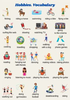 Ficha interactiva Hobbies. Vocabulary List