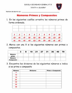 Interactive worksheet Números primos y compuestos