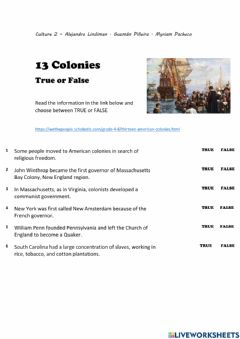 Ficha interactiva 13 Colonies and Westward Expansion