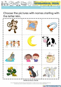 Ficha interactiva Recognizing words that begin with the letter M