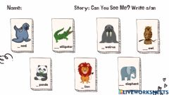 Interactive worksheet Can You See Me? a-an