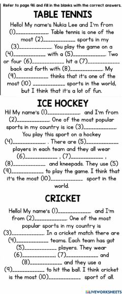 Ficha interactiva Which Is The Most Popular Sports?
