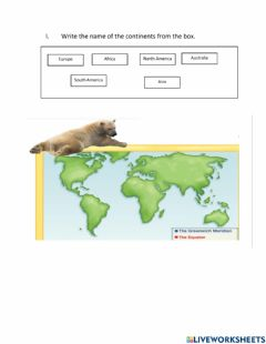Interactive worksheet Continets and oceans