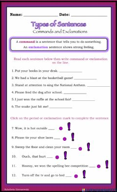 Interactive worksheet Types of Sentences (commands and exclamations)