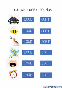 Ficha interactiva Loud and Soft Sounds