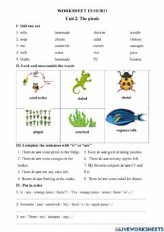 Interactive worksheet Unit 2 - The pinic