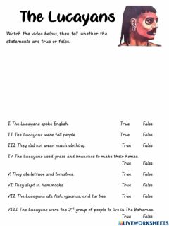 Interactive worksheet The Lucayans
