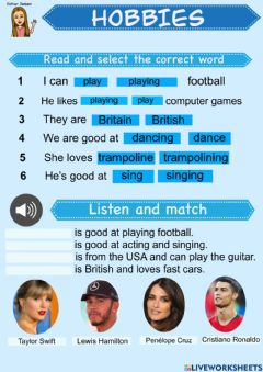 Interactive worksheet Hobbies: reading and listening activity