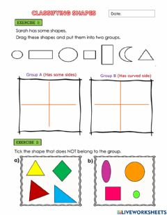 Interactive worksheet Classifying Shapes
