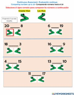 Interactive worksheet Comparing numbers up to 20