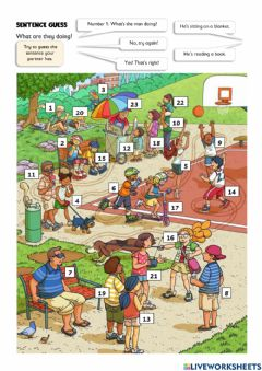 Ficha interactiva What is he doing? What is she doing? Present continuous actions guessing game