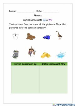 Interactive worksheet Initial Consonant G and W