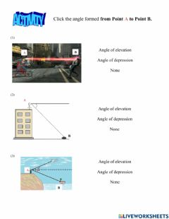 Interactive worksheet Angles of Elevation and Depression