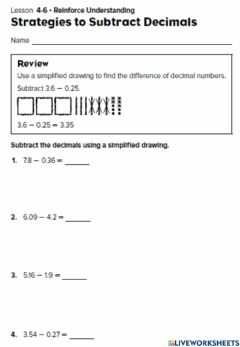 Interactive worksheet Represent Subtraction of tenths and hundredths