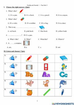 Interactive worksheet Family and friends 1-Unit 1-Test