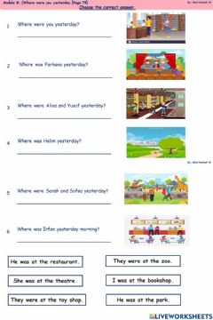 Interactive worksheet YEAR 3 Where were you yesterday? (Page 75)