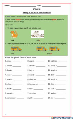 Interactive worksheet Adding 's' or 'es' to form the Plural