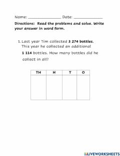Interactive worksheet 4 digit word Problem Addition and Subtraction