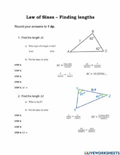 Ficha interactiva Law of Sines - finding lengths