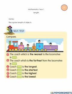 Ficha interactiva Recognise Length of objects
