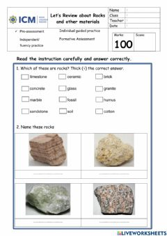 Interactive worksheet Rocks and other materials